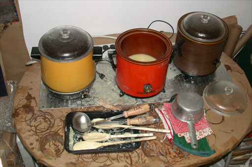 Beeswax melting in crockpots